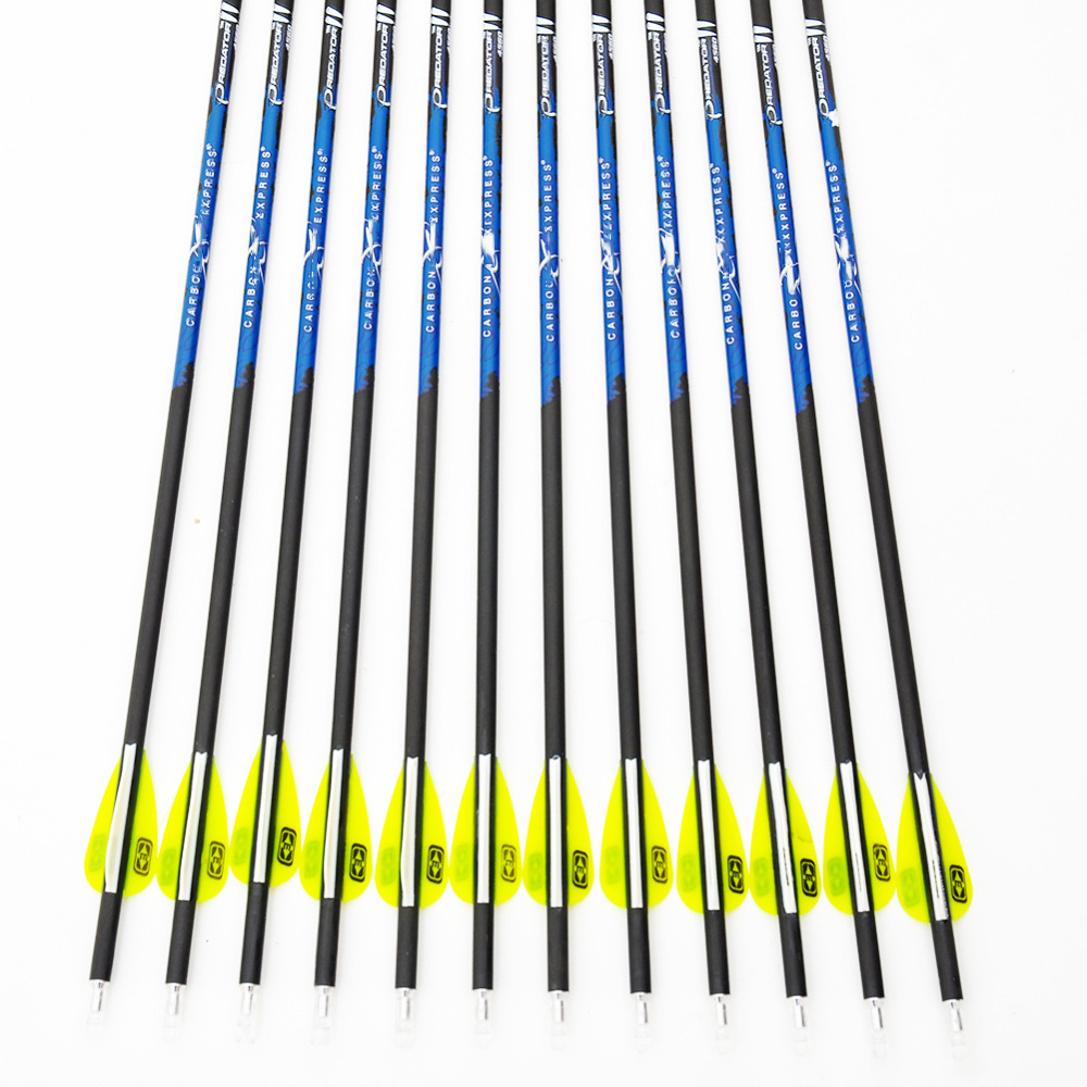 12pcs Pure Carbon Arrow Spine 300 350 400 500 600 700 800 900 1000 Pure Carbon Arrow Shaft ID 4.2mm Arrow  with yellow and White(China)