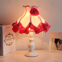 Pastoral style French lace cloth art lamp Princess bedroom bedside table lamp warm wedding decoration lamp