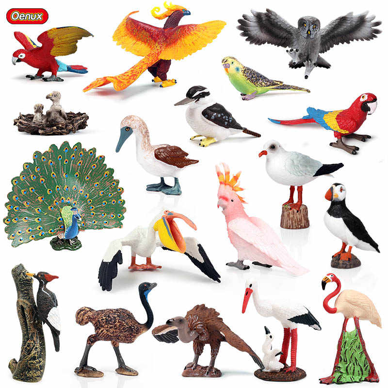 Oenux Classic Bird Animal Flamingos Parrot Sea Mew Peacock Owl Ostrich Model Solid PVC Action Figures Miniature Education Toy