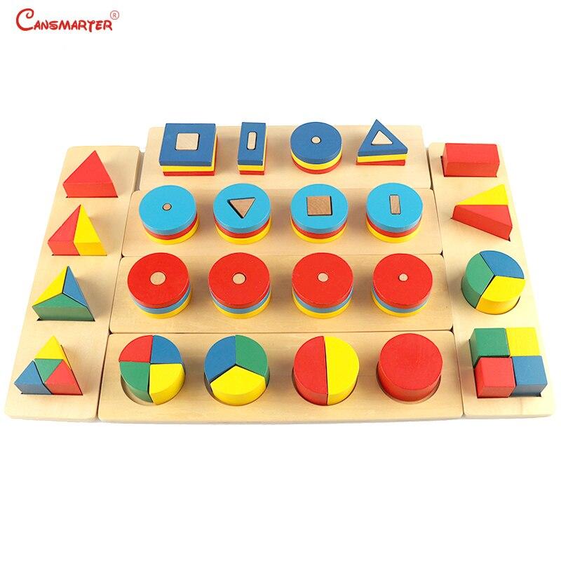 Ensembles de blocs géométriques 6 pièces forme géométrique jouets éducatifs sensoriels puzzle blocs de mathématiques en bois Montessori matériaux LT025-S3