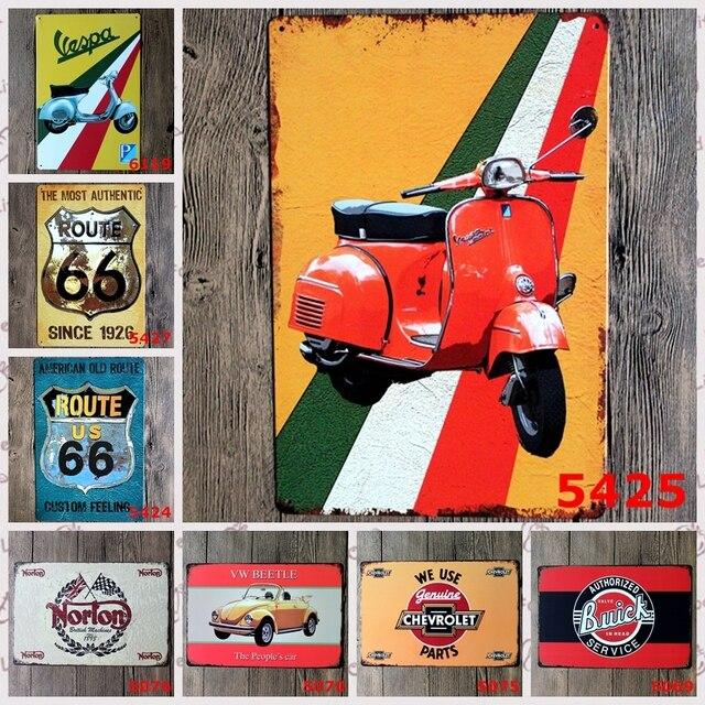 Moto Route 66 Voitures Vintage Metal Peinture Tin Signes Bar Maison