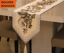 European Style Embroidery Luxury Retro Table Runner Modern Runners Chenille Home Textile