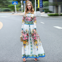 2017 New Spring Summer Couture Printing Large Swing Dress Maxi Slim Waist Long Dress High End