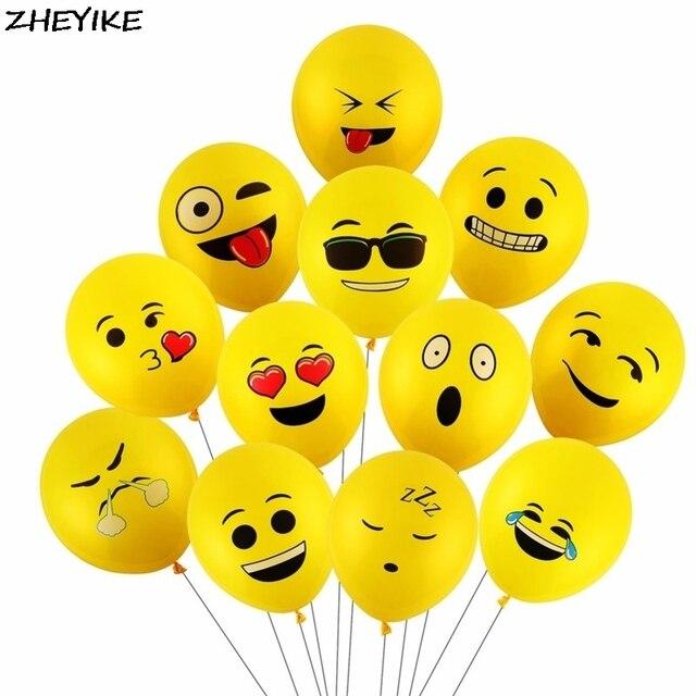 ZHEYIKE 5/10pcs Smiley Face Emoji Air Balloons Happy Birthday Party Helium Balloon Decor Wedding Festival Balon Party Supplies