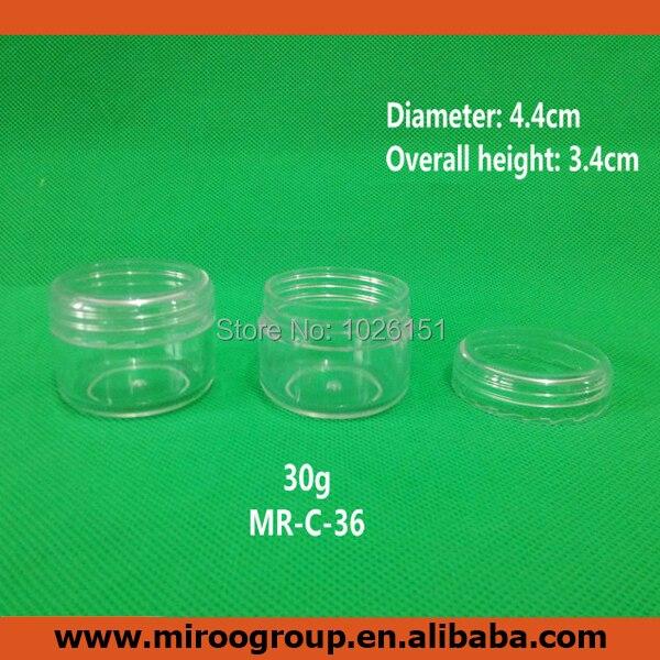Brezplačna dostava 10pcs Fancy 1oz / 30ml / 30g PS prozorna plastična posoda za smetano, 30g plastične kozmetične kozarce s pokrovi za kozmetične posode