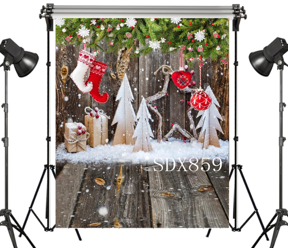 Custom Christmas Gifts.Us 8 44 35 Off Lb Xmas Socks Vinyl Photography Backdrop Custom Christmas Gifts Rustic Wood Boards Studio Photo Background Kids Party Decor In