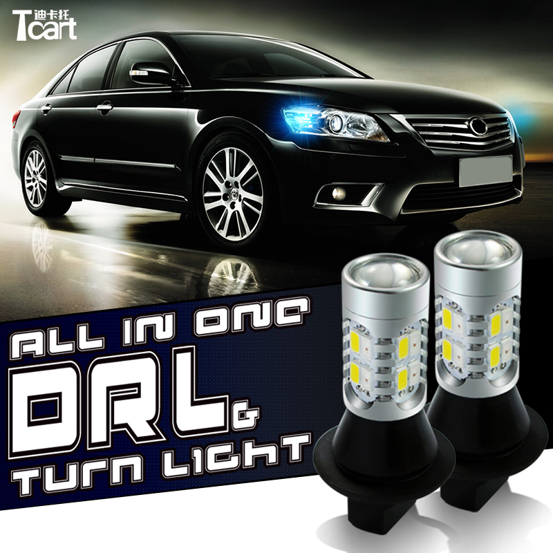 Tcart Auto Led Light Daytime Running Light Front Turn Signals Light Car DRL Led Winker Bulb White+Yellow Lamp 20W T20 7440 WY21W 2pcs 12 24v t20 7440 2835 42 smd 1000lm 20w car led drl daytime running light dual color switchback turn signal lamp bulb