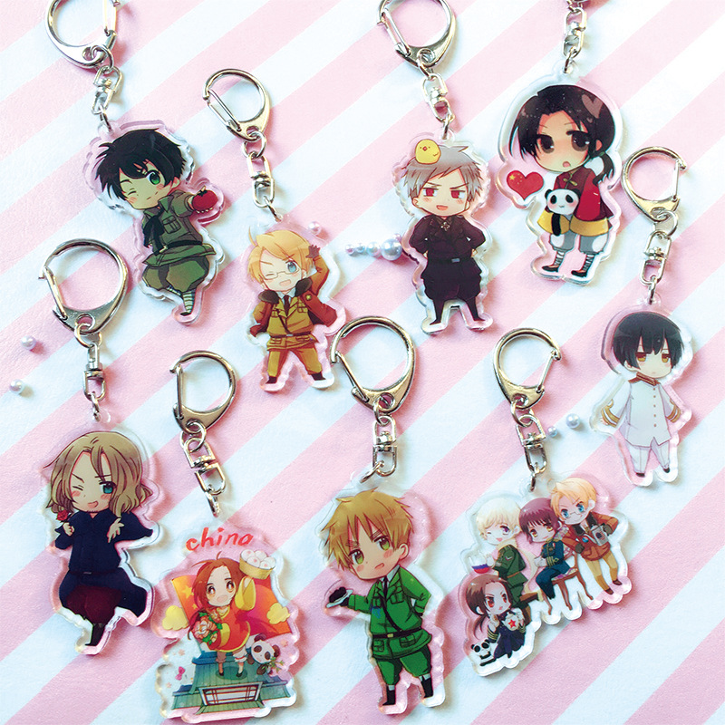 Anime Axis Power Hetalia Cosplay Keychain APH The Beautiful World Japan Italy Russia Car Key Holder Chain Keyring Jewelry Gift