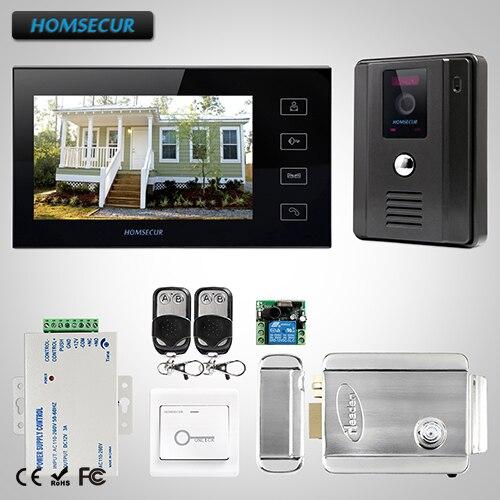 HOMSECUR 7 Wired Video&Audio Home Intercom+Black Monitor for Apartment TC011-B Camera+TM704-B Monitor