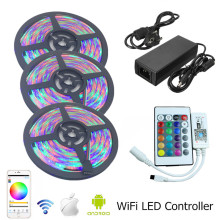 3528 WIFI RGB Waterproof Led Strip Lighting 5m 10m 15m 12v 60leds/m tira led RGB Alexa Remote Wifi Controller Power Supply