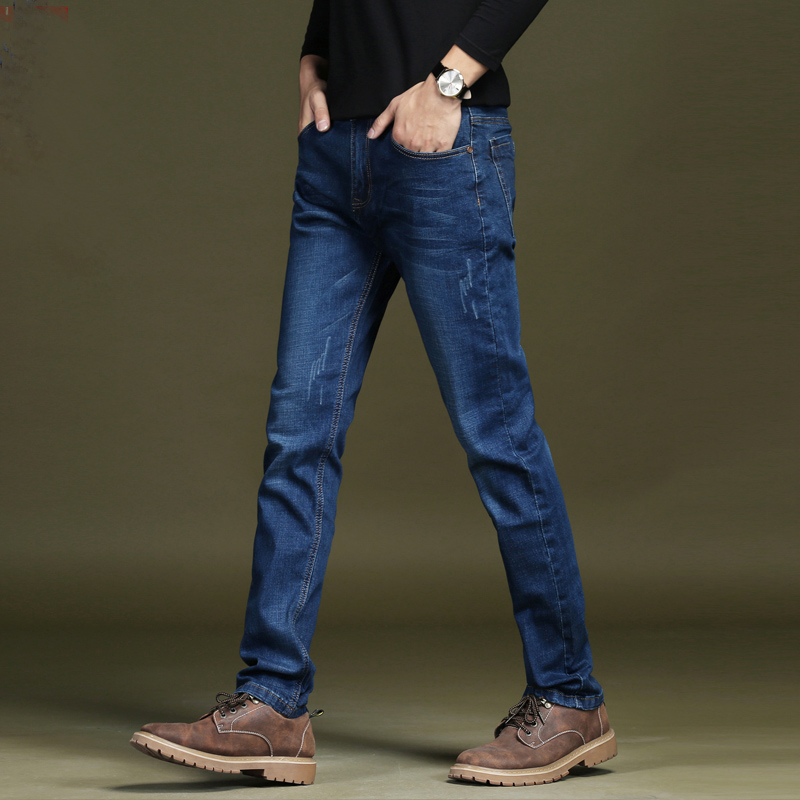 Autumn Winter Denim Pants Thick with Velvet Casual Warm Male Jeans Thermal Slim Straight Men Trousers Chic Musculine ClothMK0064