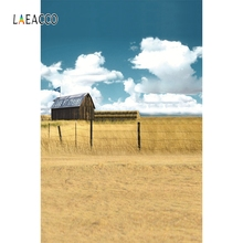 Laeacco Nature Scenic Blue Sky Grass House Backdrop Photography Backgrounds Customized Photographic Backdrops For Photo Studio цена