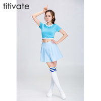 TITIVATE High School Glee Style Cheerleader Costume Outfit Uniforms Clothing Varsity Cheerleading Girl Uniform For Performances