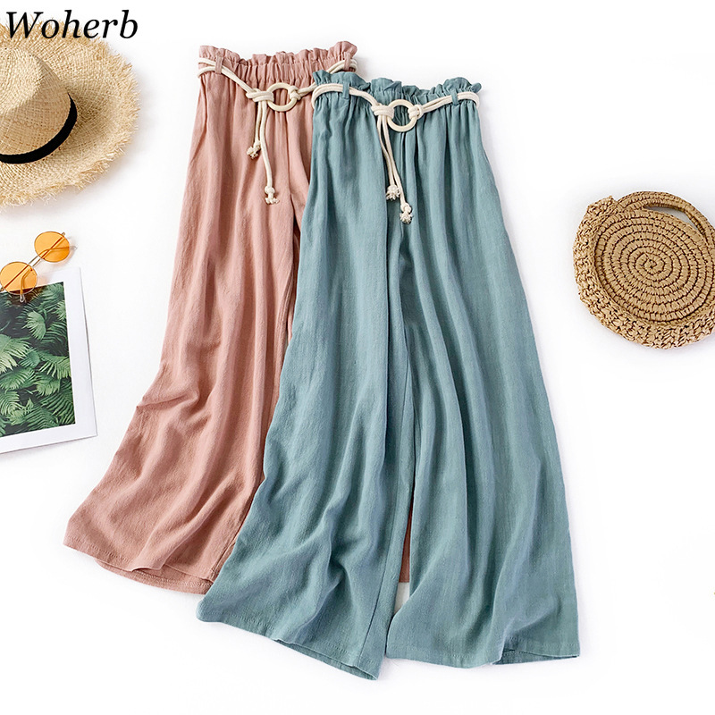 Woherb 2019 Summer Thin Cotton and Linen   Wide     Leg     Pants   Vintage Elastic High Waist Bandage Trousers Women Casual   Pant   Spodnie