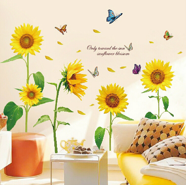new sunflower large wall stickers flowers home decor living room diy ...