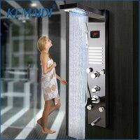 KEMAIDI LED Bath Shower Faucet Temperature Digital Display Shower Panel Body Massage System Jets Towel Shower Column Faucet