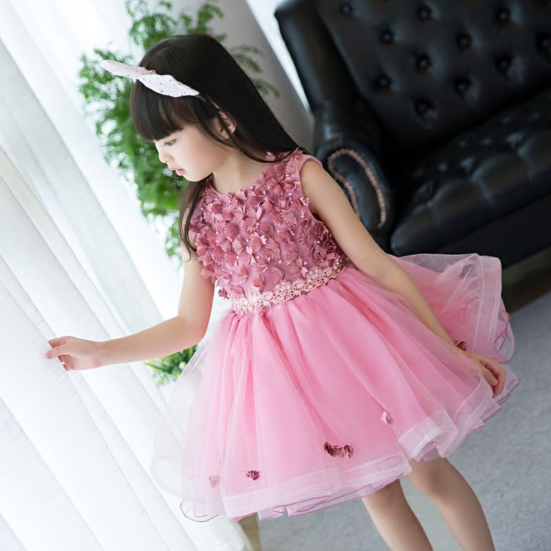 Princess Flower Girl Dress For Wedding Party High Quality Bridesmaid Kids Sleeveless Jacquard Lace Pink Color Tutu Costume Dress flower girl dresses lace sleeveless high quality birthday wedding bridesmaid formal party dress girl summer