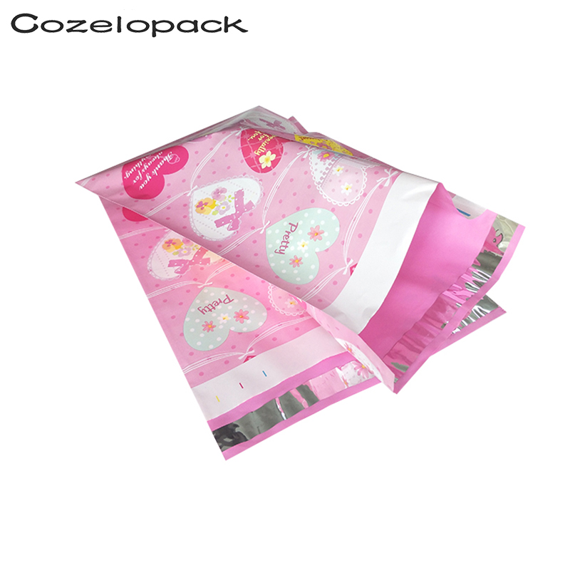 100PCS 10x13inch Poly Mailer 26x33cm Love Heart Pattern Poly Mailer Self Seal Envelopes