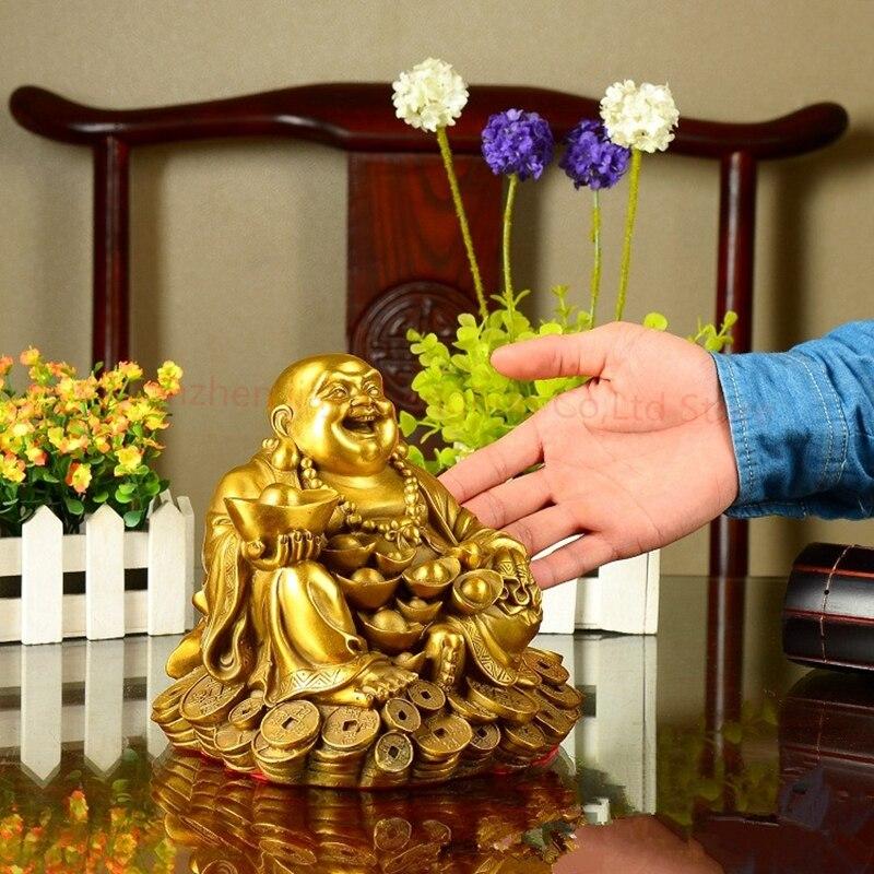 1 pièces ree expédition chinois cuivre richesse argent joyeux rire Maitreya bouddha sur Dragon tortue Statue