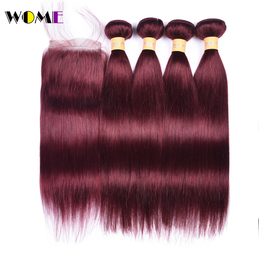 Wome Pre Colored Burgundy Bundles With Closure Red Wine Color 4 Bundle Hair Weave with 4