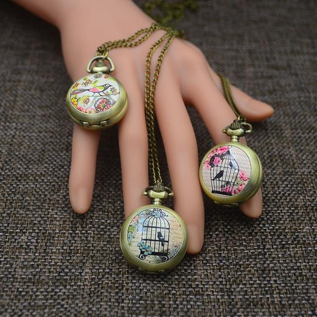 Bronze Fashion Pocket Watch Necklace Pendant Women Quartz Fob Watches Bird Butte
