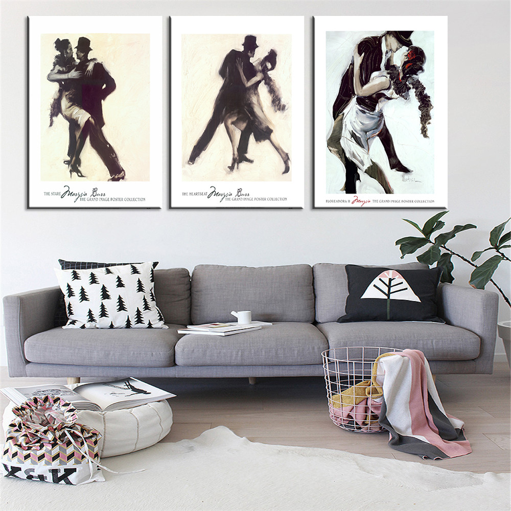 New 3 Pieces Dancing Couple Print on Canvas Modern Oil Picture Home Decor Wall Paining for Living Room Christmas Gift Unframed