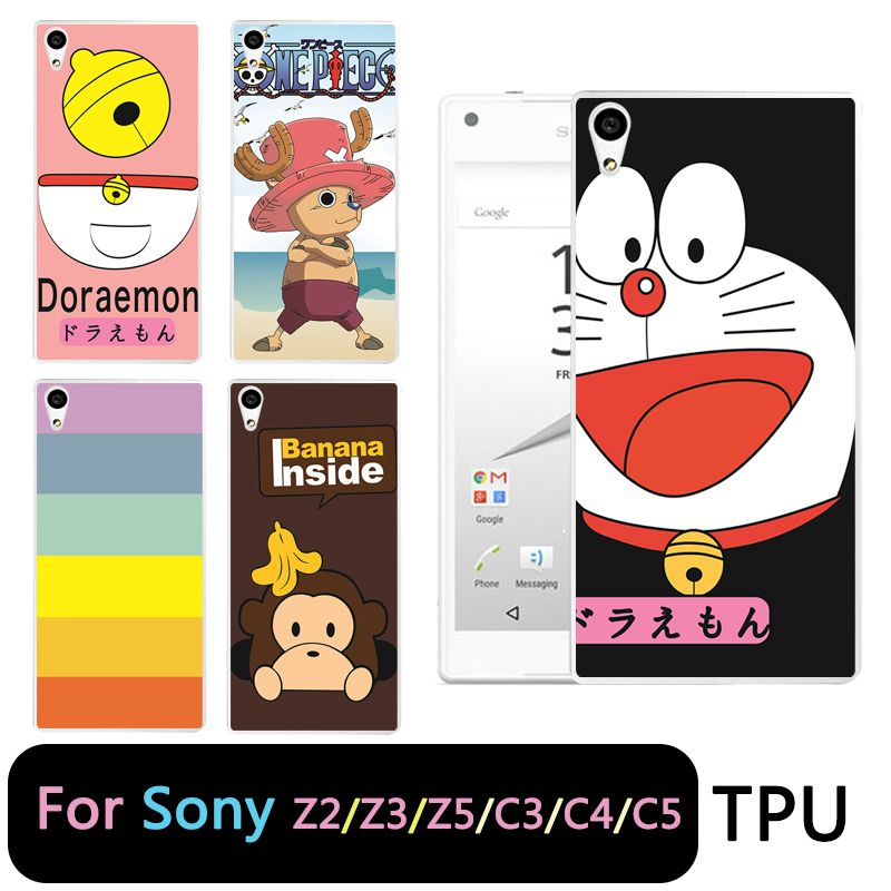 QMSWEI TPU Clear Soft Phone Case For Sony Z3 Z2 Z5 Z4 One Piece Doraemon Printed Silicone Cover For Sony C3 C4 C5 Free Shipping