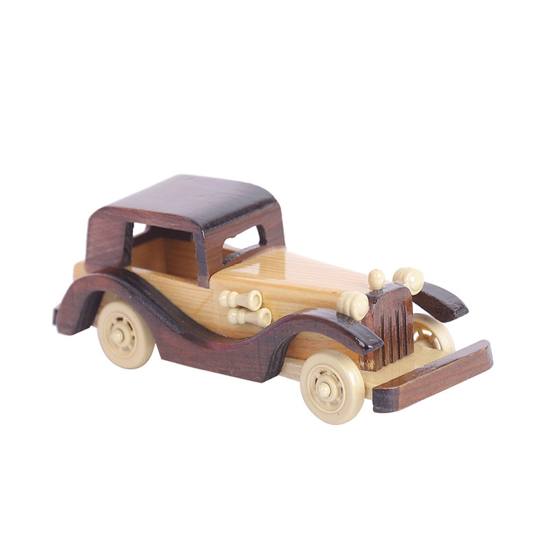 Wood Car Decoration Modle Figurines Crafts Antique Retro Old Car Handicraft Wooden Desktop Figurines Kid Car Toys Gift Crafts