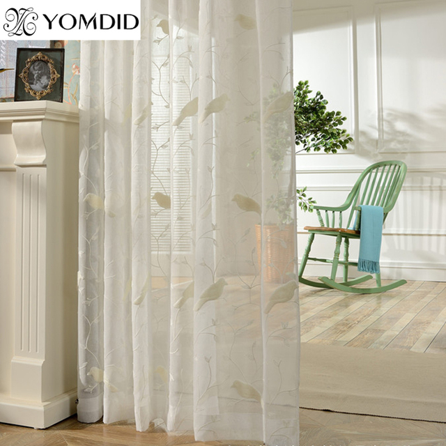 Bird Pattern Embroidery Curtains Tulle Curtains For