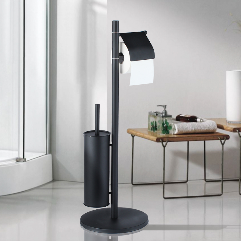 Di alta qualità bagno wc Matte Black floor standing supporto di carta scopino set bagno accessori bulloneria combinato