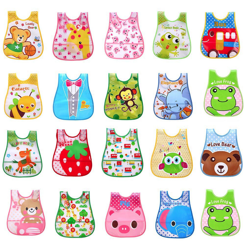 Adjustable Baby Bibs EVA Plastic Waterproof Lunch Feeding Bibs Baby Cartoon Feeding Cloth Children Baby Apron Babador de bebe (2)
