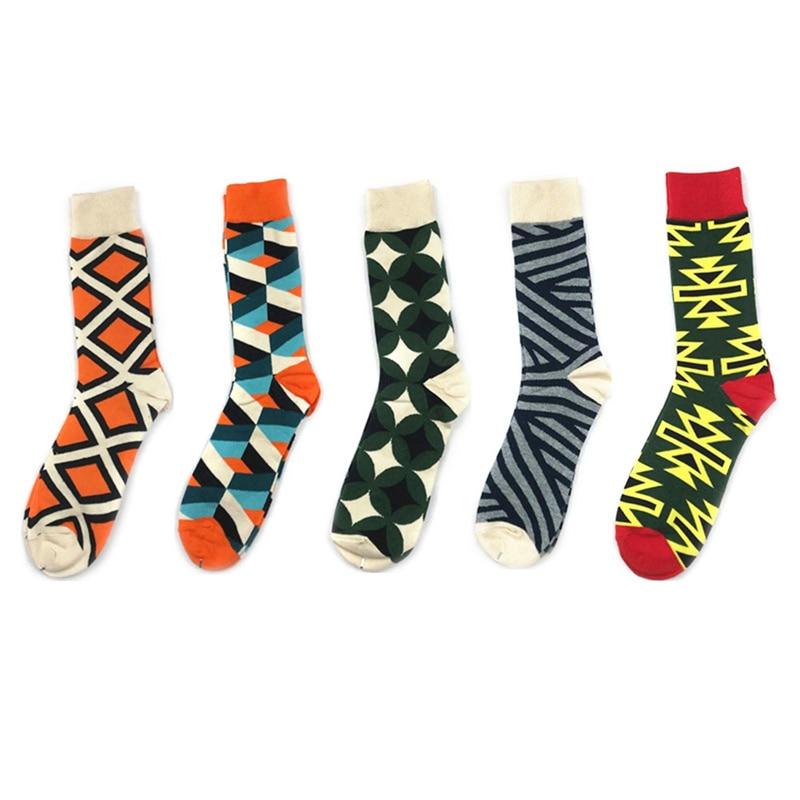 1 Pair Men Socks Combed Cotton Cartoon Animal Bird Shark Zebra Corn Watermelon Sea Food Geometric Novelty Funny Socks