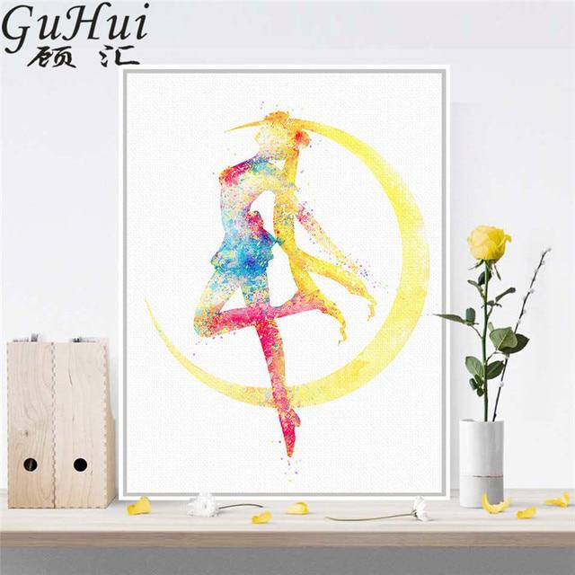 Acuarela cartel japonés anime belleza señora en la Luna lienzo ...
