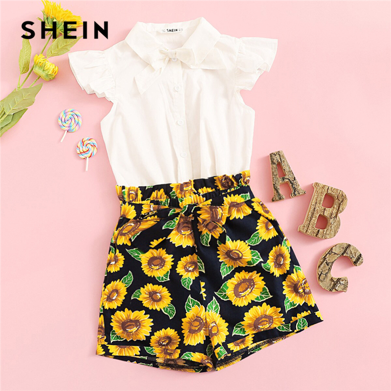 SHEIN Kiddie White Bow Front Single Button Blouse With Floral Wide Leg Shorts Sets 2019 Summer Cap Sleeve Cute Teenager OutfitsSHEIN Kiddie White Bow Front Single Button Blouse With Floral Wide Leg Shorts Sets 2019 Summer Cap Sleeve Cute Teenager Outfits