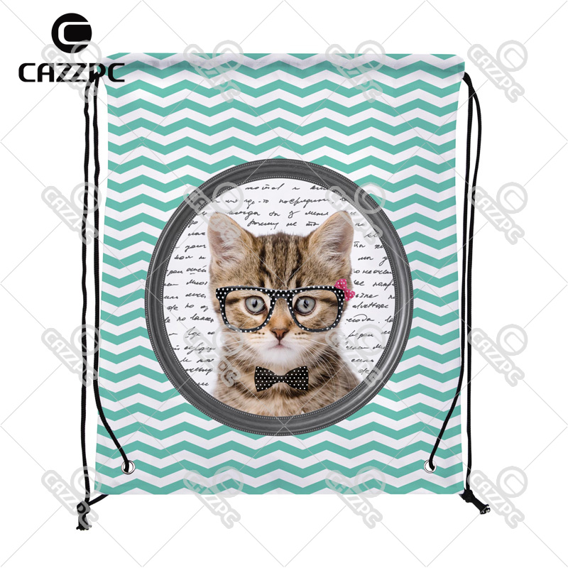 Cute Cat black glasses white dot Aquamarine Chevron Print individual Nylon Fabric Drawstring Shoes Storage Dust Bag Pack of 4