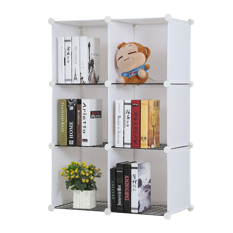 costway simple resin plastic bookshelves diy 6 grid portable bedroom storage shelves organizer bookcase boekenkast librero w0235