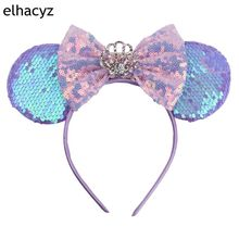 1PC 3.3 Minnie Mouse Ears Hairband For Girls 5 Hair Bows Big Flip Sequins DIY Kids Accessories Headband Boutique