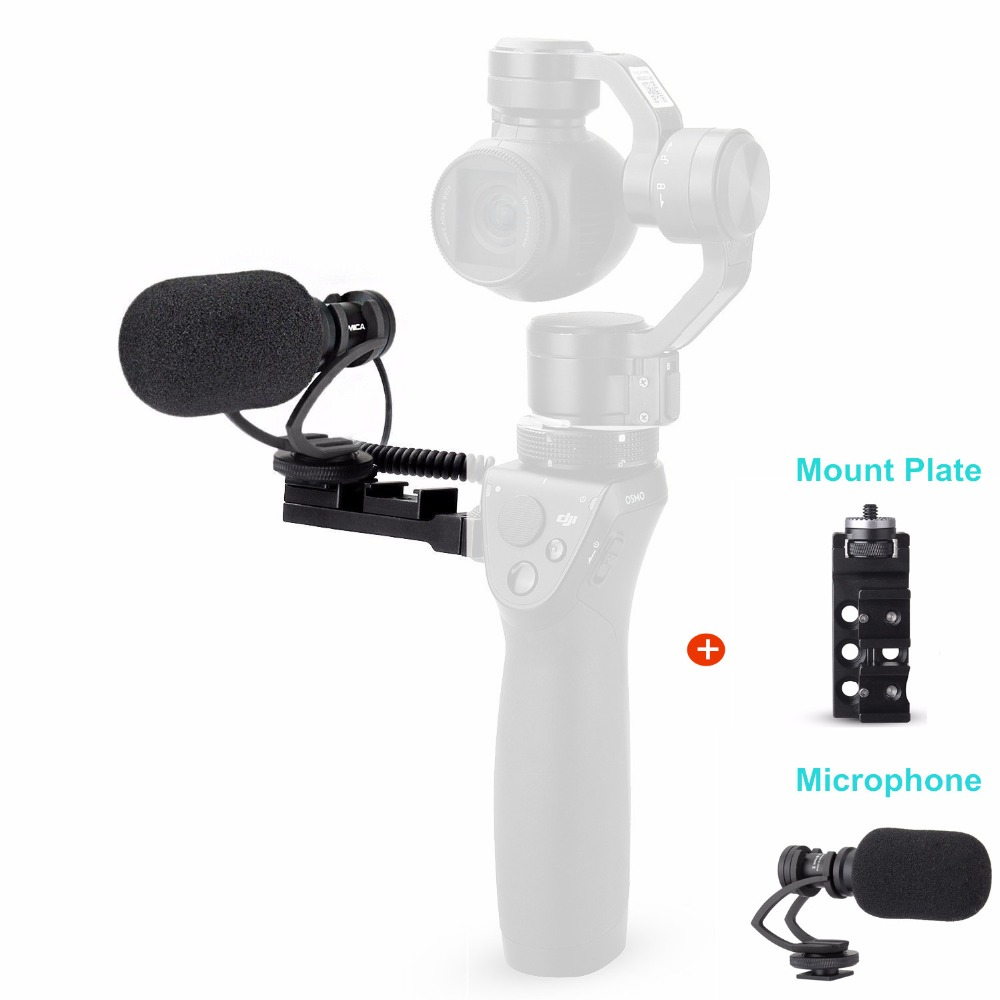 COMICA CVM-VM10-II Kit Cardioid Directional Condenser Video Microphones Mic With Universal Mount for DJI OSMO Mobile Plus+Mount comica cvm vm10 ii microphone for dji osmo mobile plus smartphone gopro micro camera cardioid directional shotgun microphone