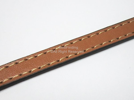 Stitched brown 10x2mm leather cord 10mm Flat leather cord in Jewelry Findings Components from Jewelry Accessories