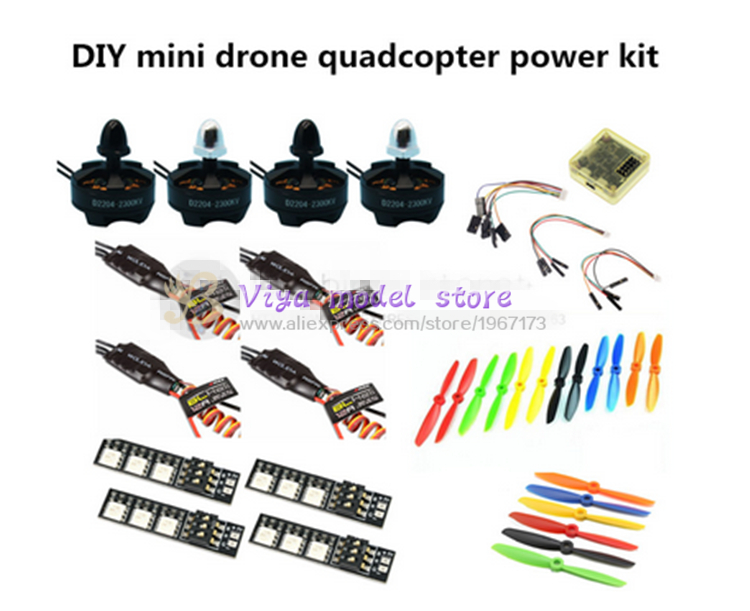 DIY quadcopter power kit CC3D + D2204 2300KV + EMAX BLheli 12A ESC+5045/6045 propellers for nighthawk 250 / Robocat 270 / QAV250 mini zmr250 carbon fiber quadcopter cc3d evo control mt2204 2300kv motor emax blheli firmware 20a esc 5045 prop led lights board