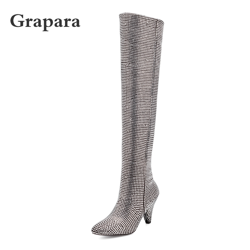 Detail Feedback Questions about Women Winter Boots Over The Knee Boots High  Heels Shoes Woman Bling Pointed Toe Silver Boots Plus Size Thigh High Boots  ... 367a917f7dea