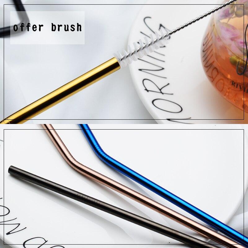 IRONX 304 Rvs Herbruikbare Metalen Rietjes +  Reinigings borstel  Bar Accessoires Voor 20 Oz Cup  4