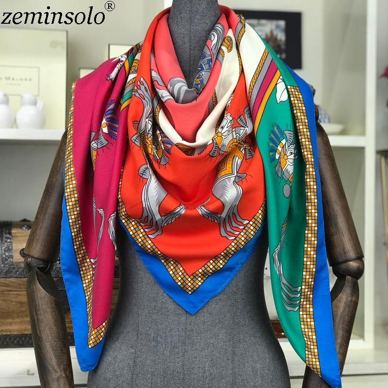 New Silk   Scarf   Women Luxury Brand Foulard Hijab Square   Scarves   Fashion Printed   Wraps   Colorful Large Poncho Shawl&Capes 130*130cm