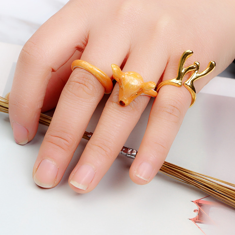 Adjustable Animal Wedding Band Ring Funny Lady Trench Women 3D ...