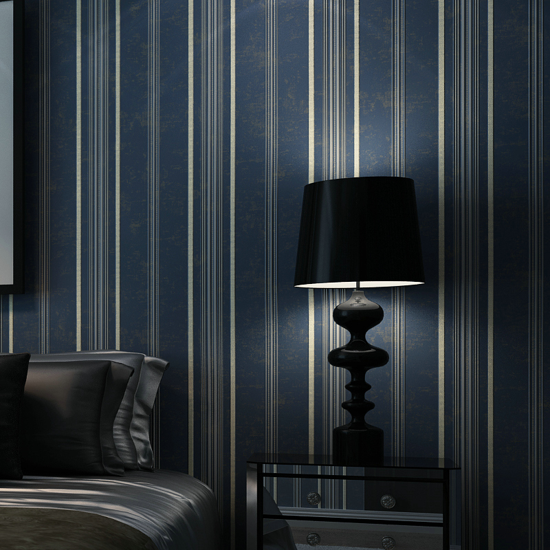 Modern Dark Blue Vertical Stripe Wallpaper Rolls for Bedroom tv background 3d stripe wall paper Roll 3d wallcoverings