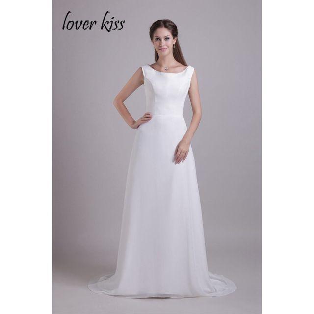 83368fda7 Amante Beso Vestido De Festa Scoop Simple Elegante Blanco Apliques  Rebordear Largo Hermoso Vestido de Fiesta