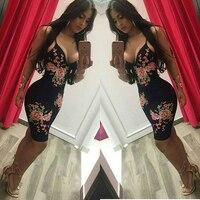 Summer Spaghetti Strap Bodycon Dress Club Pencil Sexy Black Flower Print Woman Bandage Dresses Evening Party Vestidos 2017
