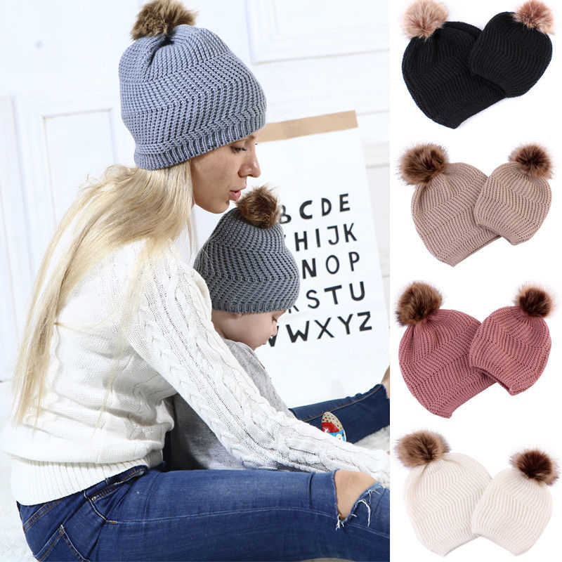 Fashion Family Matching Hat Mom Kids Knitted Beanies Baby Hat With Pompom Baby Girls Boys Caps Children's Hats Winter Warm Hats