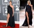 Novo Modelo Grammy Jennifer Lopez Celebridade No Tapete Vermelho Chiffon Side Slit Vestido de Noite Preto