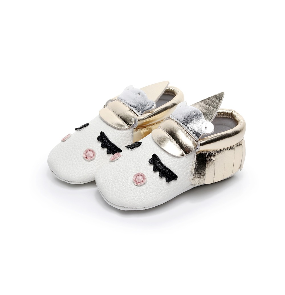 2019 Hot Sale Unicorn Style Newborn Baby Moccasins Solf Sole PU Leather Toddler Baby Girls Boys Shoes Baby Boot